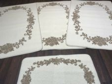 ROMANY GYPSY WASHABLES 2020 FULL SET OF 4 MATS/RUGS ROSES CREAMS-BEIGE NON SLIP